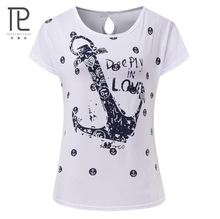 Tailor Pal Love Fashion Harajuku Punk Anchor Letter Print T Shirt Women Tops Casual Short Sleeve T-Shirt Ladies Shirt Plus #b0(China)