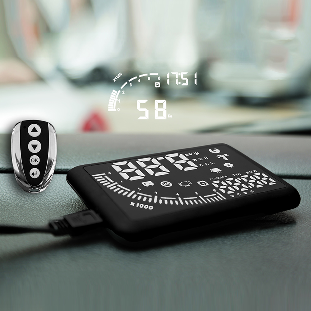 Car HUD Head Up DisplaySpeeding Warning Dual OBD Interface Windshield Project System with Remote Control and Time Display<br><br>Aliexpress