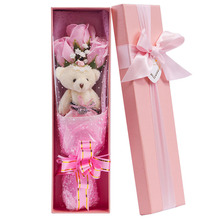 Free Shipping Valentine New Year Party Gift Bear & Artifical Flower Bouquet Gift Box  Soap Rose