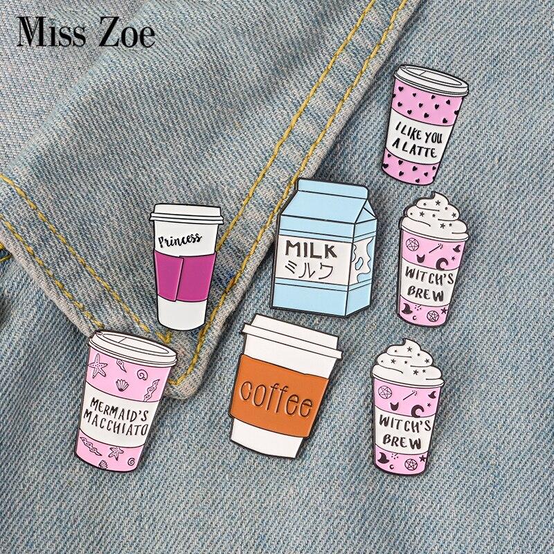 Elegant-Store-C Fun Idea Pink Enamel Pins Earth Coffee Avocado Badges Brooches Cartoon Comics Bag Clothes Lapel Pin Humor Jewelry Gift
