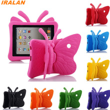 Hot EVA Shockproof Case for iPad Mini 1 2 3 Cartoon Butterfly Stand Tablet Cover for iPad Mini3 Kids Safe Cases + film + Stylus