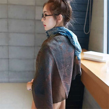 Winter Print National Wine Scarf Cotton Long Thin Section Modern Ladies  Scarves Shawls Wraps