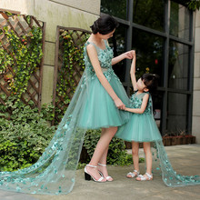 Family Fitted Summer Sleeveless Mom and Daughter Children Princess Skirt Women Wedding Photo Studio Photographic Clothes