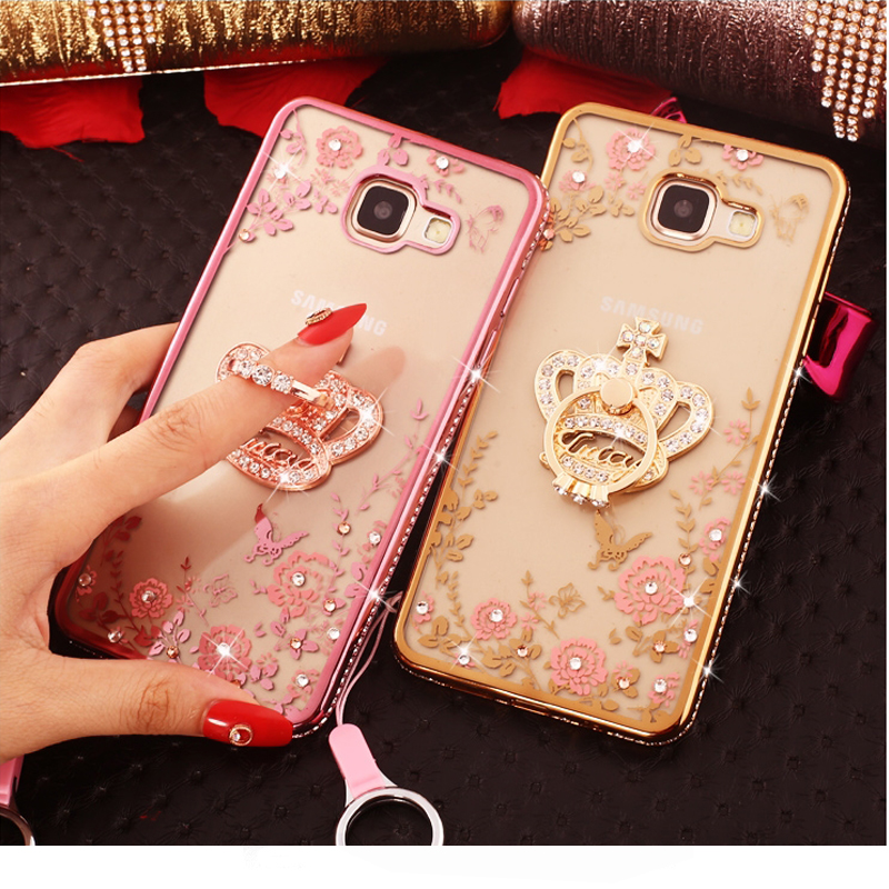 ECDREAM clear phonecase For Samsung Galaxy A5 2017 Flower peacock heart shape Rhinestone Soft Cover shockproof cases(China)