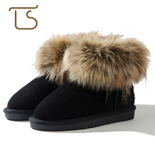 T.S. kids boots winter girls shoes Warm Ankle boots kids fur Snow Boots Toddler brown black rose EU Size28-38(China)
