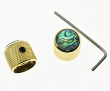 2x Set Screw Abalone Top Gold Guitar Dome Knobs for Tele Telecaster Bass Knob