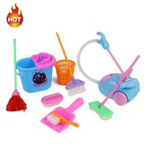 9pcs/lot Home Furnishing Funny Vacuum Cleaner Mop Broom Set Cleaning Tools Doll Accessories For Kids Girls Furniture(China)