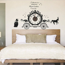 Real princess child real carriage large 3d mute clock diy wall stickers suit for chrismas decoration