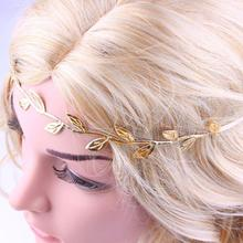 Women Headband Bronzing Leaves  Head Elastics Band For Girl Soft Simple Fashion Hair Band Acessorios Para Cabelo #0015