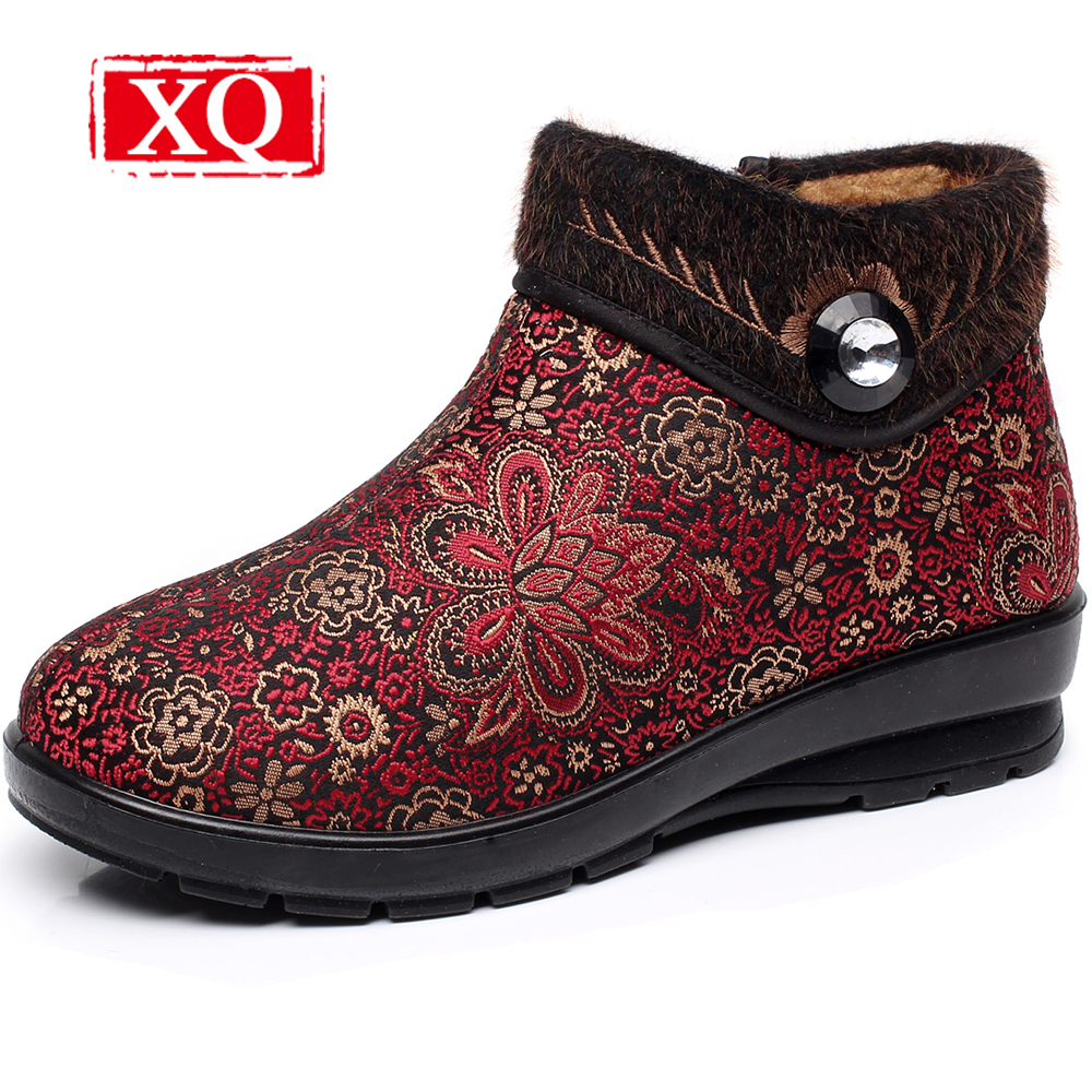 XQ Brand Winter Women Boots Skidproof Snow Boot Femme Thick Plush Warm Ankle Boots Big Size Botines mujer Platform shoes  W116<br>