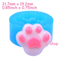 DYL204 Dog Pawprint Flexible Silicone Push Mold 24mm - Polymer Clay Sugarcraft Miniature Food Mould, Jewelry Mould Food Safe