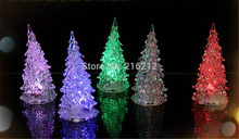 Cool Christmas Halloween Tree Ornament Acrylic Crystal Colorful Mini Changing LED night light lamp Decoration Kids Gift(China)