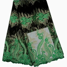 High Quality African Cord Lace With Rhinestones,Green Nigerian Guipure Lace Fabrics For Women Latest 2016.African lace fabric