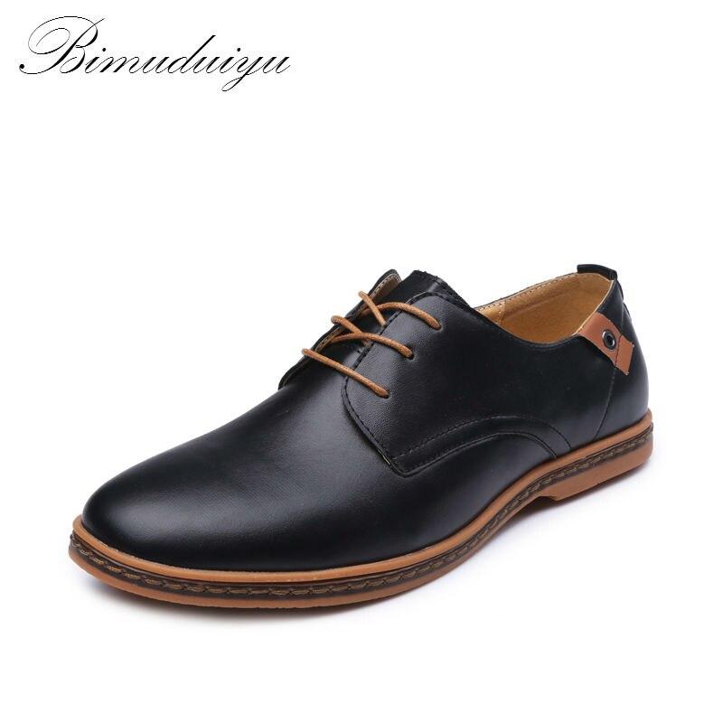 BIMUDUIYU Spring Autumn New Wedding Business Mans Lace-up Flat Shoes New England Fashion PU Leather Casual Shoes US Large Size<br>