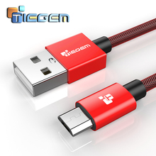 Micro usb cable, Tiegem Nylon Braided Fast Charge USB Data Cable For samsung xiaomi 1m 2m 3m Android charger cables(China)