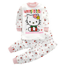 Boutique Children's Brand Clothing Sets 2pcs Kids Baby Boy Girls Cotton Coat +Pants Outfits Autumn Kitty Bear Clothes Wear White(China)