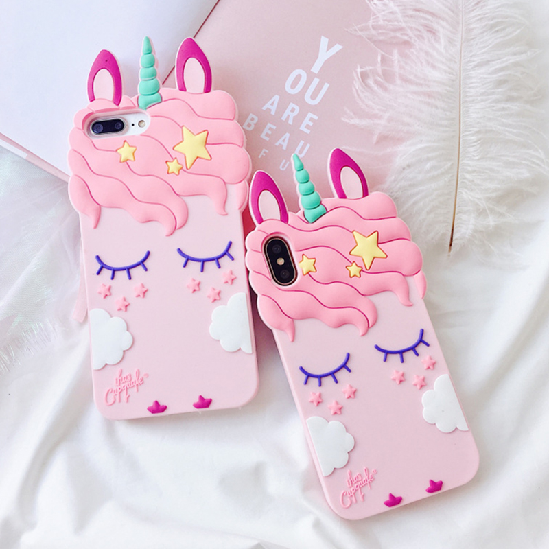 3D Cartoon Soft Silicone Phone Case For iPhone 5 S SE 6 6S 7 8 Plus X XR XS Max Case for iphone 7 Pink Unicorn Animal Back Cover (9)