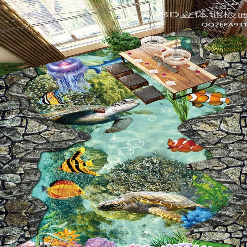 Free Shipping Sea World Coral Tropical Fish 3D Painting Flooring wear non-slip living room bedroom bathroom flooring mural<br>
