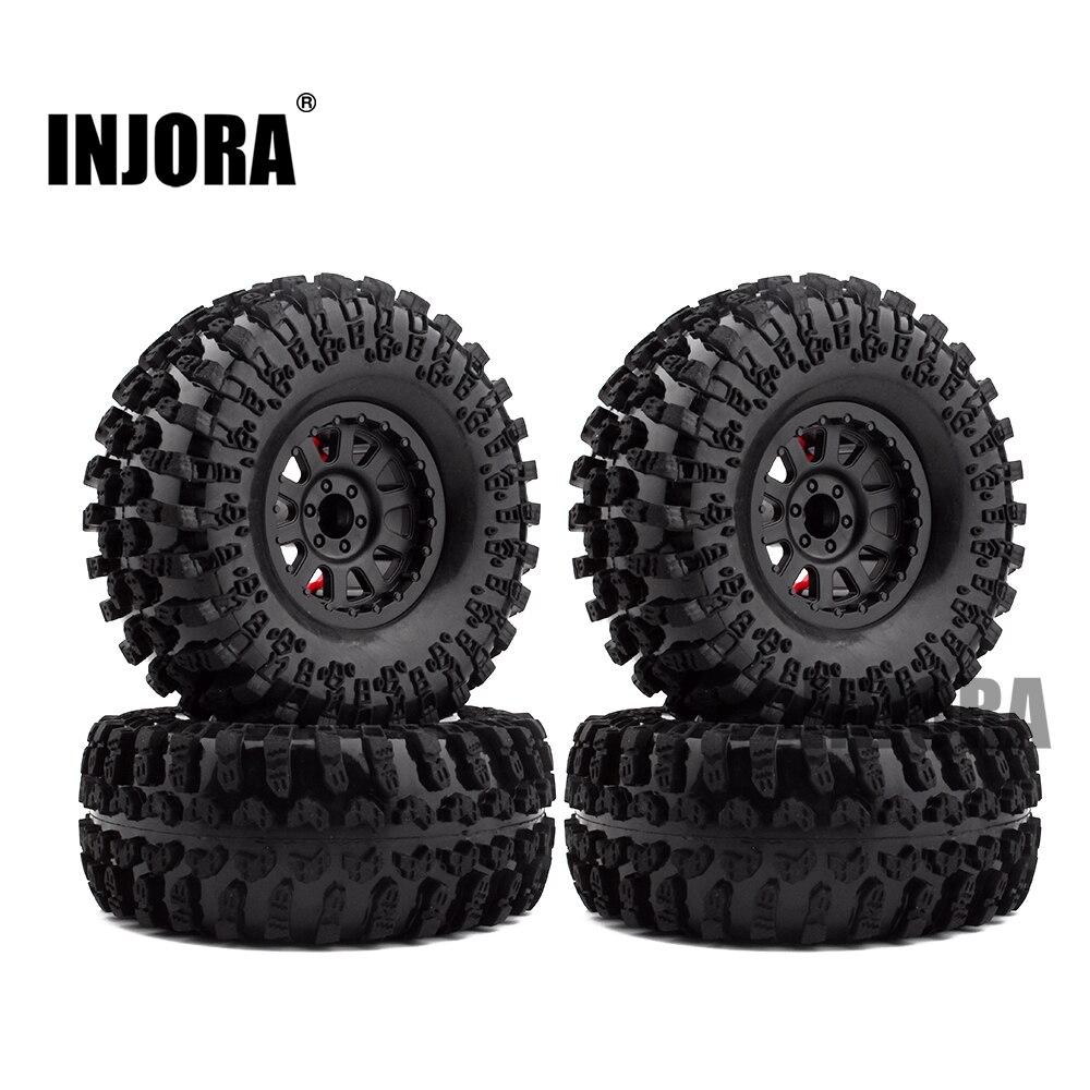 4PCS 2.2 Inch Rubber Tyres &amp; Plastic Beadlock Wheel Rim for 1:10 RC Rock Crawler Axial SCX10 RR10 Wraith Yeti RC Car<br>