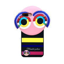 2017 Luxury cartoon sexy girl perfume monsters genius rainbow pearl rivets eyes phiz soft silicone cell phone case For Iphone