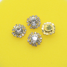 10pcs/lot 15mm Circularfo Clear crystal  button  Rhinestone button  golden flatback   clothing buckle