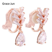 Korea Style Bridal Full Cubic Zirconia Water Drop Shape Clip on Earrings No Pierced for Girls Wedding Prom Charm Cute Ear Clip(China)