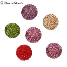 "DoreenBeads Polymer Clay Round Mixed Color Beads Ball Fit Wish Box Pendants (No Hole) Rhinestone About 18mm( 6/8"") Dia, 5 PCs"