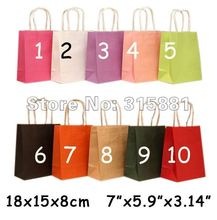 Paper Handled Shopping Bags, 50pcs/lot 18x15x8cm 50pcs/lot(China)