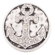 20MM Anchor snap Antique Silver Plated with clear rhinestones snaps jewelry KC6111