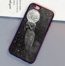 Lunar Moon  Punk Space Head Dress Grey Soft Rubber Mobile  Phone Cases For iPhone 6 6S Plus 7 7 Plus 5 5S 5C SE 4S Cover Shell