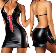 Buy Sexy Summer Dresses Women 2018 Hot Costumes Underwear Erotic Sexy Dresses Women Hot Sleepwear Latex Slim Fit Short MiniDress