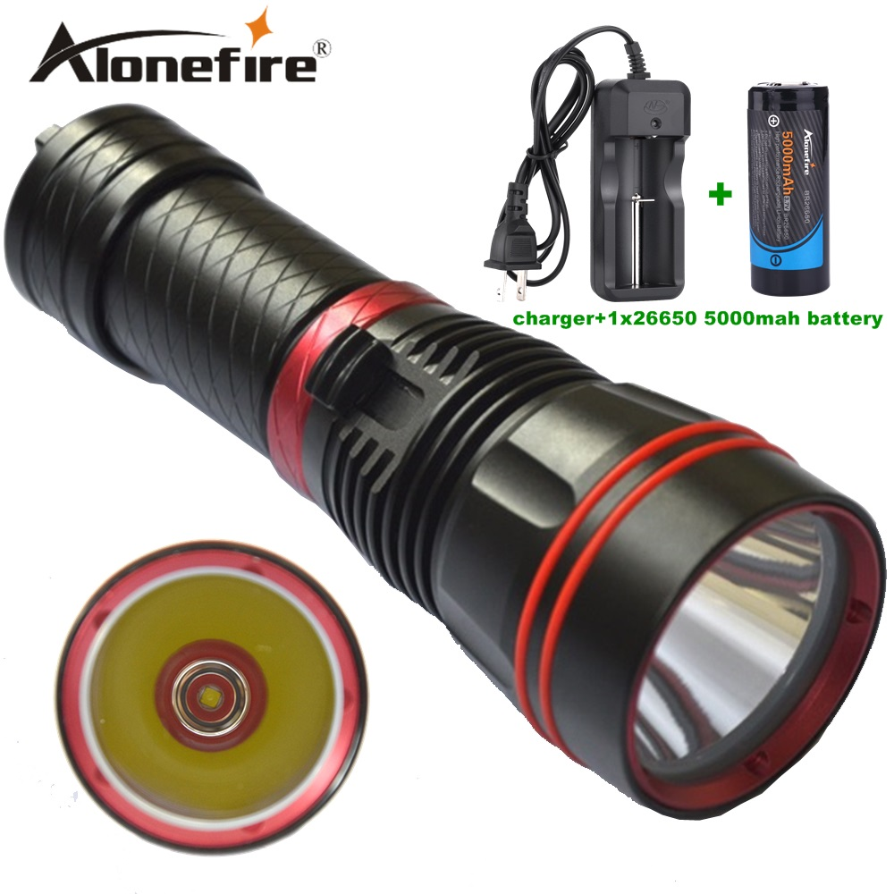 Alonefire DX1S 1SET Diver Flashlight LED Torch cree xm-l2 constant current 26650 rechargeable batteries Underwater Diving Light <br>