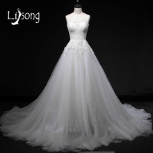 Gorgeous Strapless Appliques White Wedding Dress Long A-line Chic Bridal Formal Gowns Modest Wedding Dresses Long Brides Dresses(China)