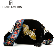 Herald Fashion Mini Velvet Embroidery Crane Shell Bag Wild Strap Fashion Shoulder Bags Designer Tassel Vintage Crossbody Bag(China)