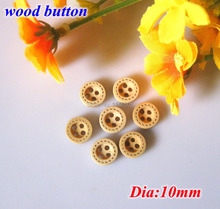 200 pcs/lot Round good Wood Buttons 10mm Natural 4 Holes Small bulk Buttons Sewing Wooden Buttons For Scrapbooking Crafts botoes
