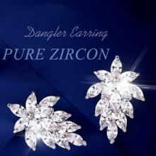 Cubic Zirconia Earrings 2017 New Fashion 925 Sterling Silver Stud Earrings Wedding Bridal Jewelry Finding Hot Sale DE619