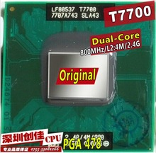 Original intel CPU laptop Core 2 Duo T7700 CPU 4M Socket 479 Cache/2.4GHz/800/Dual-Core Laptop processor support 965(China)