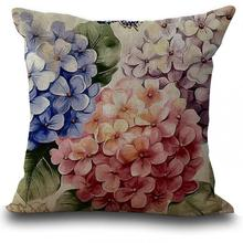 Factory Supply  European Style Retro Flower Printing Linen Decorative Throw Pillow Cushion For Office Chair