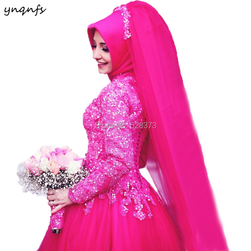 YNQNFS MW23 Islam/Muslim Wedding Gowns Hijab DressTurkey Abiye Robe de Mariee Long Sleeve Fuchsia Bridesmaid Dresses 2019