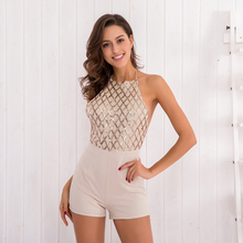Buy Women Sexy Backless Chiffon Romper Elegant Sequins Halter Neck Lace Short Jumpsuit Summer Spring Lady Party Overalls Talever