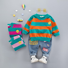 Hot sale Cotton autumn casual striped kid suit children set baby clothing boys clothing girl clothing baby clothes clothing set