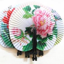 Wholesale 5PCS Holiday Party Supplie Folding Multi Pattern Printed Paper Hand Fan Wedding Bridal Favors House Decoration HG0218F