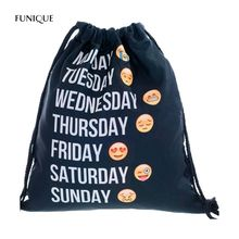 FUNIQUE Black Fashion 3D Digital Printing Emoji Word Expression Rope Storage Bag Backpack Emoji Smiley Emoticon Round(China)