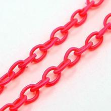 0.85m/Strand DeepPink Color Elastic Cord Cross Chains, 10x8x7mm; about 33.5""