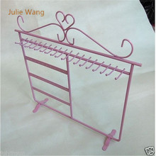 Julie Wang 1PCS Fashion Pink Iron 30Holes Jewelry Display Charm Earring Necklace Showing Shelf Stand Holder(China)