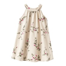 1 to 12 years summer baby girls linen Sleeveless vest Teenage Dress floral print Kids girl dresses Costume children clothing