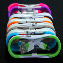 1M Colorful Noodle Flat Cable V8 Micro cable Accessory Bundles For Samsung S3/S4 Xiaomi Micro USB Cable.Free Shipping!