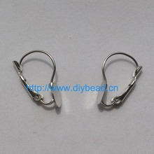 DIY accessories parts,Earring Hooks With 8mm Basement,Rhodium Plated,Copper Earring Component,4*1.5CM