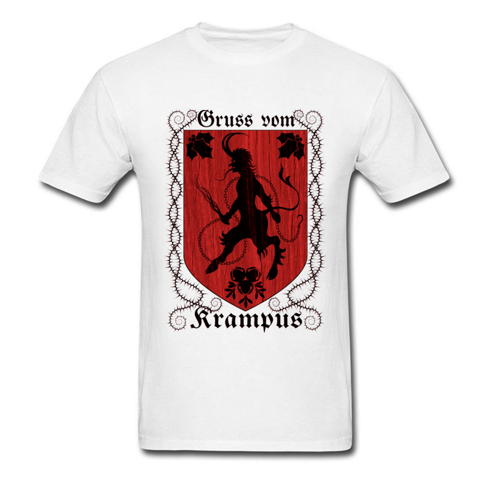 Greetings From Krampus Mens Tshirt Fitted Normal Tops Shirt ostern Day Cotton Fabric Round Collar Tee Shirts Short Sleeve Greetings From Krampus white