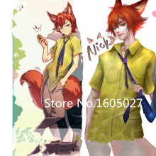 Zootopia Nick Wilde T-shirt For Adult Halloween Party Uniform Suit Clothing Cosplay Anime Movie Costume+Ear+Tail S-XL